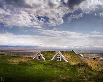 Icelandic Turf Houses Photography, Landscape, Wall Art Print, Fine Art Photography, Nature Photography