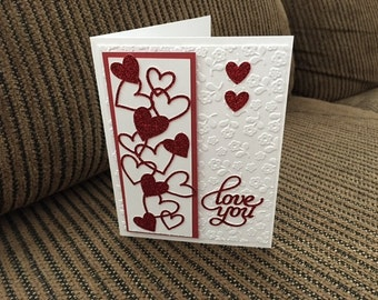 Red/white sparkly Valentine or anniversary card