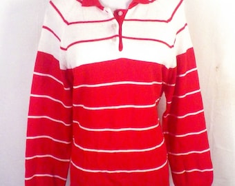 vtg 70s Eileen Red White Striped Polo Collar Sweater Bouse Top sz 38