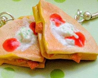 Chicken or Cheese Quesadilla Earrings - Miniature Food Jewelry, Mexican Food Jewelry - Inedible Jewelry - Fake Food Jewelry - Kawaii Jewelry