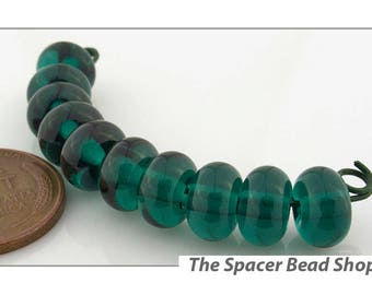 DARK TEAL GREEN Lamp Work Beads Spacers Glass Handmade - The Spacer Bead Shop