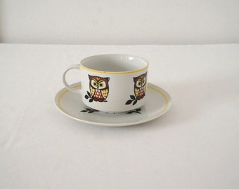 Large Vintage Soup or Coffe Mug and Saucer with 70s Owls