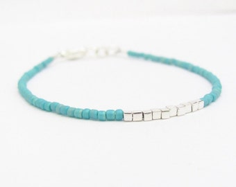 Friendship Bracelet, Aqua Blue Friendship Bracelet, Silver Plated Cube, Modern Minimal Bracelet, Seed Bead Bracelet, Hawaii Jewelry
