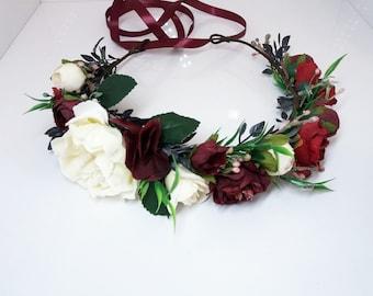 Burgundy Ivory Flower crown,Maroon flower crown,Floral crown,Wedding flower crown,Flower girl crown,Bridal flower crown,Bridesmaid crown