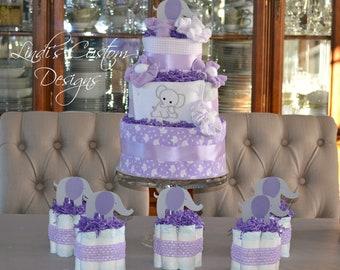 Elephant Baby Shower Diaper Cake Centerpiece Decor Set, Lavender Girl Elephant Baby Shower Decor Gift Set, Elephant Baby Shower Diaper Cake