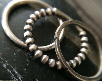 Rustic Silver Stacking Rings - Unique Oxidized & Textured Stackable Ring Band Set - Simple Minimalistic Jewelry Gifts for Her