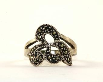 Vintage Leaf Design Marcasite Inlay Ring 925 Sterling Silver RG 113