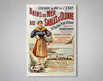 Bains de Mer  des Sables  d'Olonne Vintage Travel Poster, Poster, Sticker or Canvas Print / Gift Idea