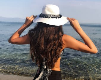 Black and White Bohemian Hat - Straw Hat - Pom Pom Hat - Sun Hat - Beach Hat - Summer Hat - Holiday Hat - Black Pom Poms - Gifts For Her