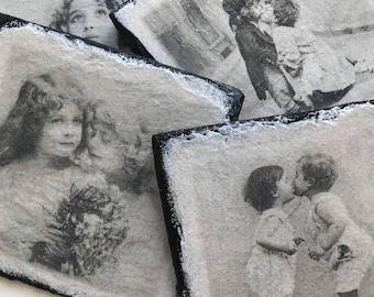 Set of 4 - Natural Slate Vintage Kids Coasters