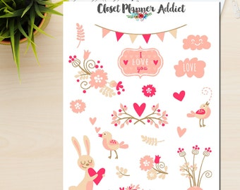 Love Is In The Air Planner Stickers   Love Stickers   Valentine's Day   Wedding Stickers   Blush Pink (S-029)
