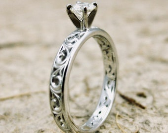 Diamond Engagement Ring in 14K White Gold with Scroll Pattern and 4 Prong Setting Size 5