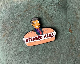 Steamed Hams Principal Skinner Krusty Burger Aurora Borealis Bootleg Bart Simpsons Lapel Pin Pinback Button