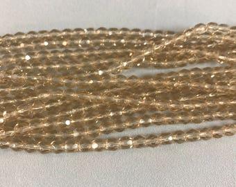 Firepolish Beads, 4MM, Hurricane Glass, Light Smoke, 50pc
