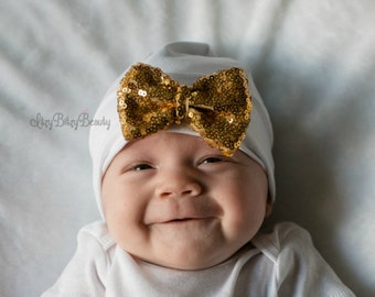 Girls Sequin Glitter Bow Hat - Coming Home Hat - Baby Shower Gift - Princess Hat - Baby Girls Coming Home