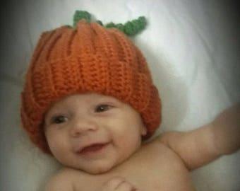 Newborn Pumpkin Hat, Pumpkin Photo Prop, Halloween Photo Prop, Thanksgiving, Fall Photo Prop, Crochet Pumpkin Hat, Newborn Photo Prop,