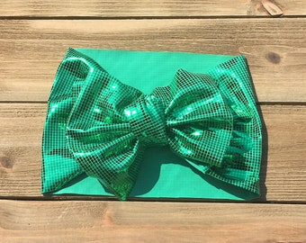 Green Stretchy Headwrap- Headwrap; Stretchy Headwrap; Baby Headband; Toddler Headband; Baby Headwrap; Toddler Headwrap; Stretchy Head Wrap