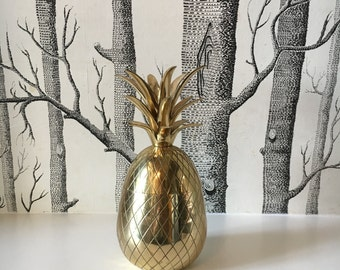 """Vintage Brass Pineapple Container 9.5"""" Tall Hollywood Regency Decor Gold"""