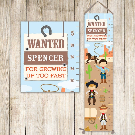 Cowboy Growth Chart Personalized Canvas - Western Kids Art, Cowboy Nursery, Wild West Nursery, Height Chart, Boy Gift - GC4669S