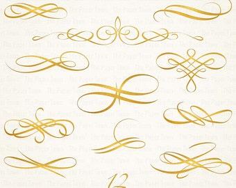 Wedding Letterpressed Golden Swashes Clipart Set - Digital Golden Flourish Swirl - Embellishment Wedding Invitation - Instant Download - PNG