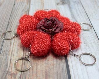 Valentines Gift Keychain Gift for Women Custom Keychain Women Accessory Handmade Keyring  Heart Charm Crochet Birthday Gift Bff Gift