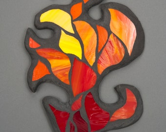 Stained Glass Mosaic Wall Art: Peach Cap Fire