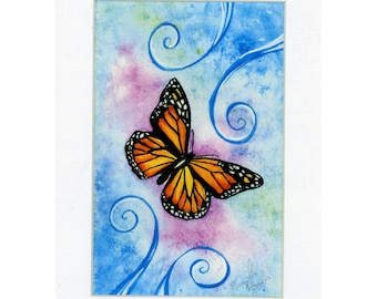 Monarch Butterfly Flying though the Sky print 2 of 250