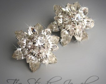 Swarovski Crystal Rhinestone Flower Stud Bridal or Bridesmaid Earrings - TAMARA