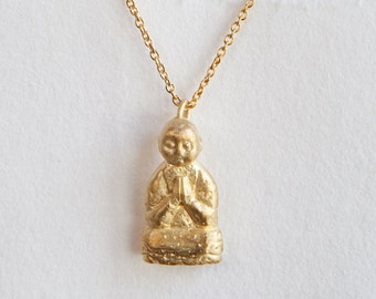 Gold Buddha Pendant, Gold Jizo Necklace, Gold Buddha Jewelry, Buddhist Jewelry, Meditation Jewelry, Spiritual Necklace, Buddha Accessories
