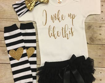 Glitter Bodysuit, I woke up like this Outfit, Baby Girl Clothes, Mommy's Girl, Leg Warmer Set, New Baby Gift, Baby Shower Gift