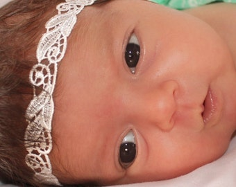 Lace Baby Headband, Baby Headband, Beige Baby Headband, Baby Halo Headband, Lace Headband, Newborn Headband, Headbands For Babies, Toddler