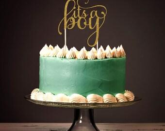 It's a Boy Cake Topper, Cake Decoration, Glitter, Party Decoration, Custom, Gold, Silver, Baby Shower, Newborn, Birthday, Gender Reveal
