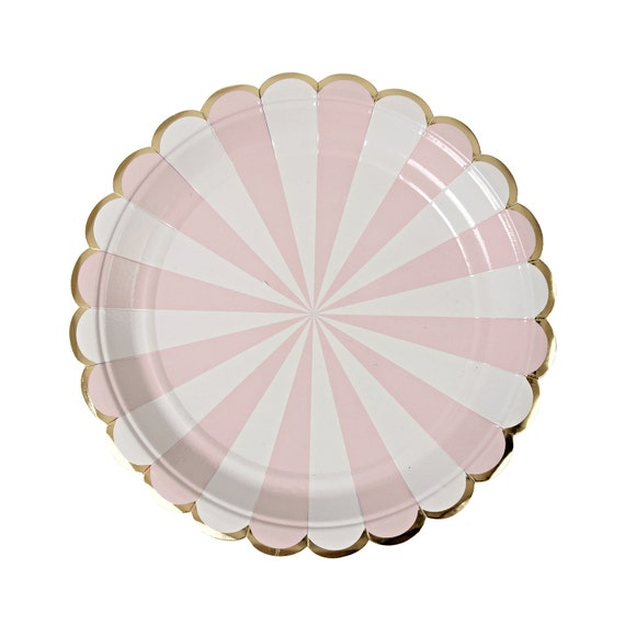Pink and gold paper plates. Set of 8. Dusty pink SMALL dessert plates with white stripes and gold foil scallops. Light pink and gold plate. from ...  sc 1 st  Etsy Studio & Pink and gold paper plates. Set of 8. Dusty pink SMALL dessert ...