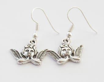 Silver Angel Earrings, Angel Jewelry, Cherub Earrings, Faith Earrings, Christian Earrings, Christmas Earrings, Silver Earrings