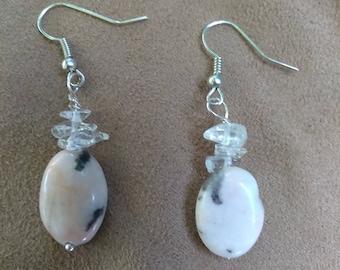 Pink Jasper Crystal Earrings
