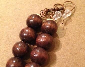 Dark brown wood beads ear rings