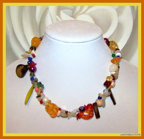 Torsade Necklace: Multi Gemstone CONFETTI 2 Strand Torsade Necklace