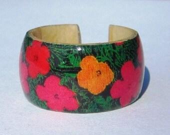 Andy Warhol Flowers -- Adjustable Wood Ring