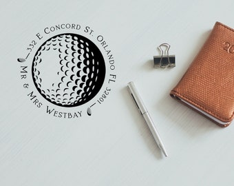 Personalized Golf Ball Address Stamp, Wedding Address Stamp, Return Address Round Stamp, Self inking Rubber Stamp - CA771