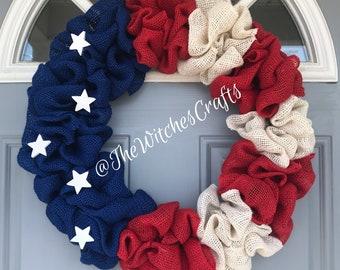 American flag burlap wreath!