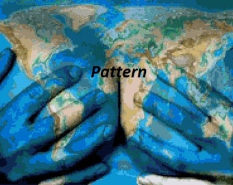 Globe. World map. Cross Stitch Pattern.