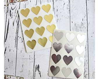 108 Gold, Silver Foil Heart Stickers, Paper Stickers, Seals, Envelope Seals, Gold Wedding Stickers, Silver Heart Seals