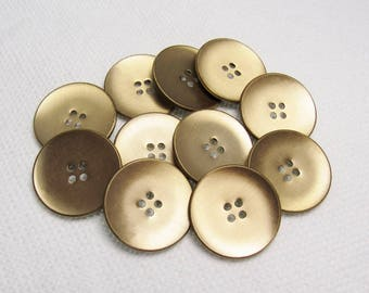 """Brushed Gold: Large 1-1/16"""" (26mm) Metal Buttons - Set of 11 Vintage New Old Stock Matching Buttons"""