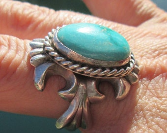 Turquoise and Sterling Silver Sand Cast Ring Size 10.5