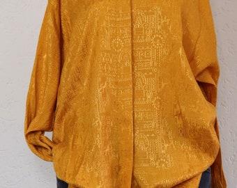 Vintage yellow blouse | vintage long blouse | bewerkte blouse | silky feel | size L | vintage lange blouse