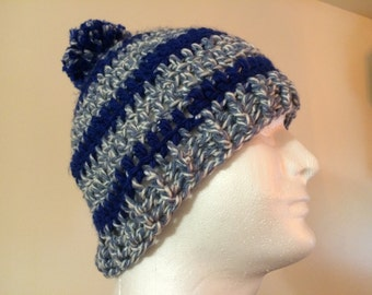 Mens crochet striped blue hat