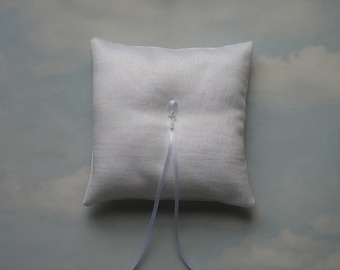 Ring pillow. White sparkle ring cushion. Winter wedding.