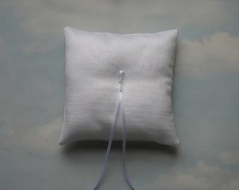 Ring pillow White sparkle wedding ring cushion Winter wedding Ringkissen Ring bearer pillow