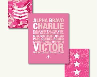 "Pink Camo Military Nursery Art Triad - INSTANT DOWNLOAD - 8""x10"""