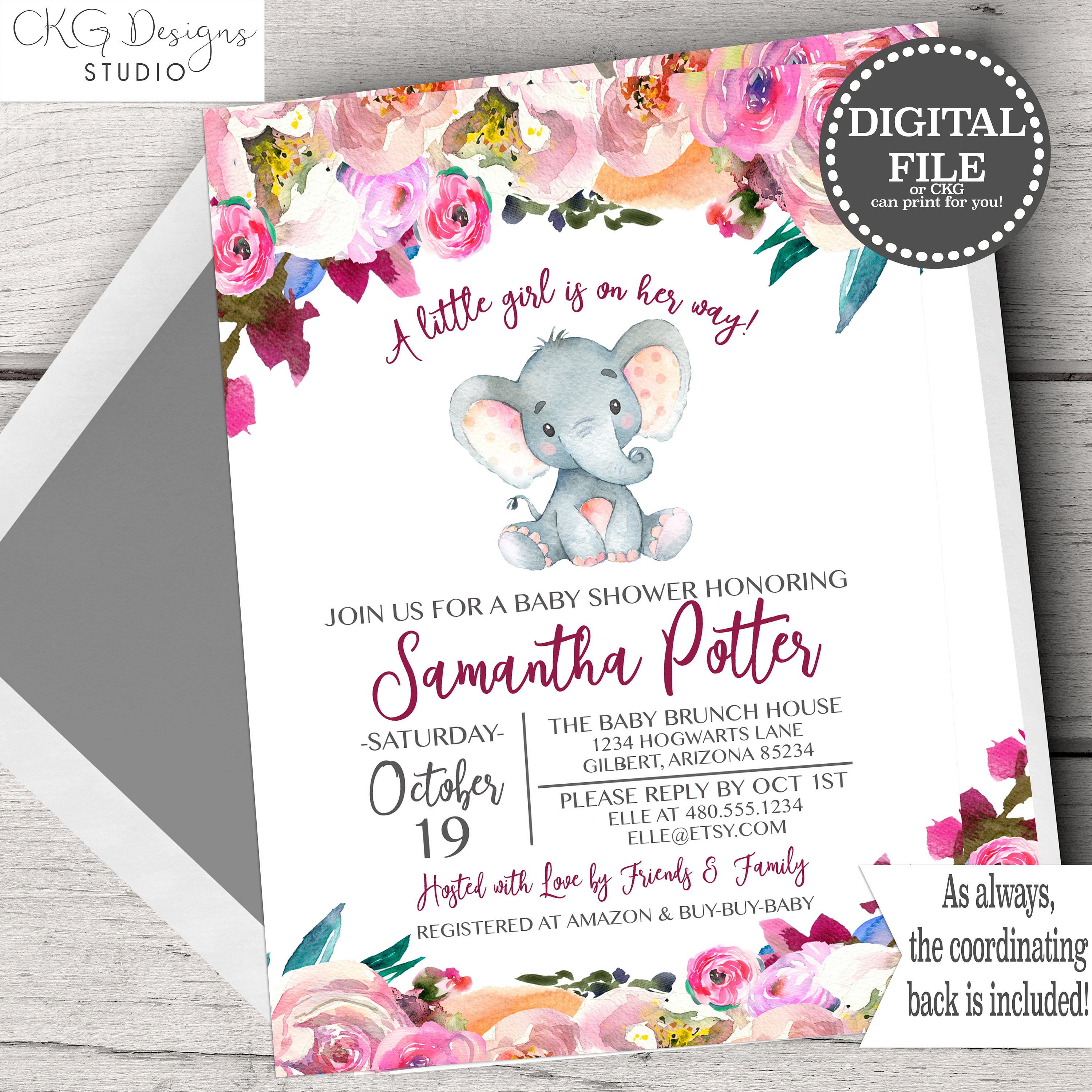 Pink Elephant Baby Shower Invitations Elephant Baby Shower